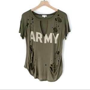 A'GACI Olive Green Destroyed Army Tee Size Small
